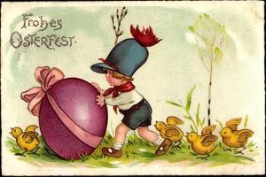 Glückwunsch Ostern, Kind Schiebt Osterei Vor Sich Her