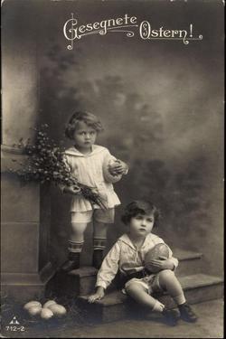 Glückwunsch Ostern, Kinder Mit Weidenkätzchen, Eier