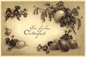 Glückwunsch Ostern, Kranz Aus Eiern, Weidenkätzchen