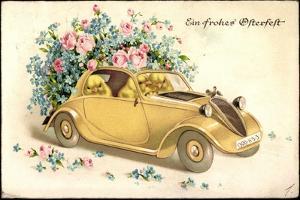 Glückwunsch Ostern, Küken in Einem Oldtimer, Blumen