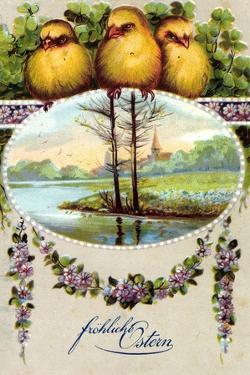 Glückwunsch Ostern, Küken, Landschaft, Blüten