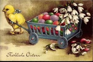 Glückwunsch Ostern, Küken Zieht Wagen Mit Ostereiern