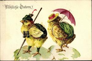 Glückwunsch Ostern, Kükenpärchen Auf Wanderschaft