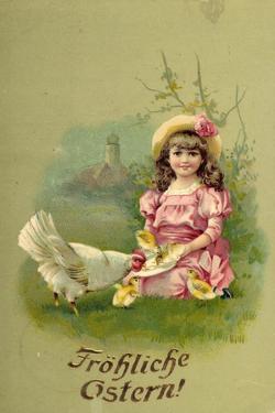 Glückwunsch Ostern, Mädchen Mit Küken Und Henne