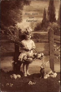 Glückwunsch Ostern, Mädchen Mit Weidenkätzen, Hase