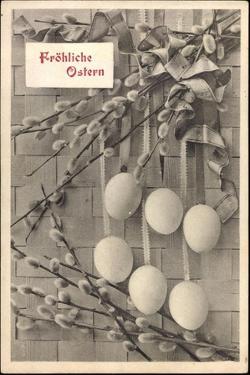 Glückwunsch Ostern, Ostereier an Weidenkätzchen