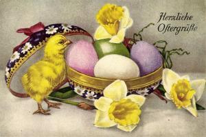 Glückwunsch Ostern, Ostereier, Küken, Blumen