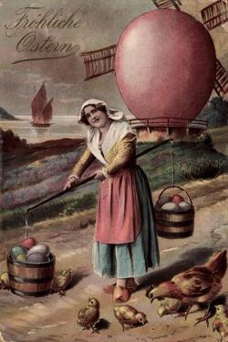 Glückwunsch Ostern, Ostereimühle, Bäuerin, Küken