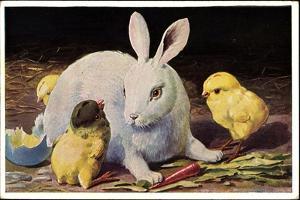 Glückwunsch Ostern, Osterhase Mit Küken