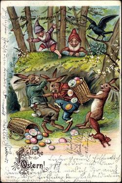 Glückwunsch Ostern, Osterhasen Kämpfen Um Ostereier