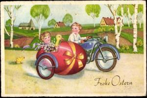 Glückwunsch Ostern, Pärchen Fährt in Einem Motorrad