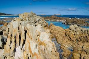 Gneiss (Metamorphic Granite) Marine Rock Formations on Indian Ocean Shoreline, Banding, Erosion,…