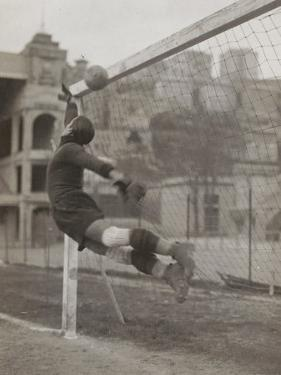Goalie of the Genova Soccer Team During a Play