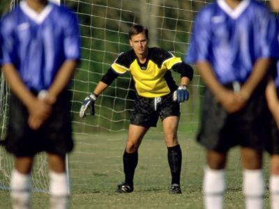 Goalie Preparing to Block Penalty Shot