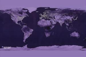 Satellite View of the World Showing Electric Lights and Usage by Goddard Space Center