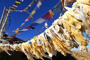 Buddhist prayer flags, Mustang, Nepal, Himalayas, Asia by Godong