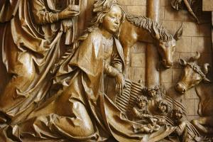 Detail of the Nativity on the carved altar, dating from 1509, Mauer bei Melk church, Lower Austria by Godong
