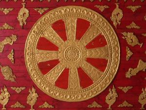 Dharma Wheel at Wat Si Muang, Vientiane, Laos, Indochina, Southeast Asia, Asia by Godong