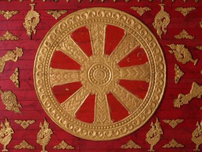 Dharma Wheel at Wat Si Muang, Vientiane, Laos, Indochina, Southeast Asia, Asia