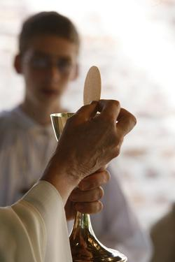 Eucharist celebration, Les Sauvages, Rhone, France by Godong