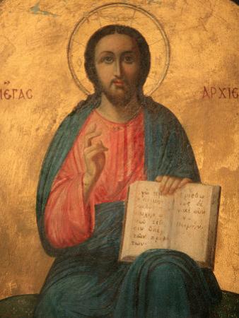 Greek Orthodox Icon Depicting Christ as High Priest, Thessaloniki, Macedonia, Greece, Europe