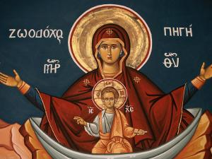 Greek Orthodox Icon Depicting Mary as a Well of Life, Thessalonica, Macedonia, Greece, Europe by Godong