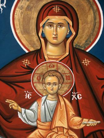 Greek Orthodox Icon Depicting Virgin and Child, Thessalonica, Macedonia, Greece, Europe