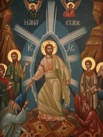 Greek Orthodox Icon of Christ's Resurrection, Thessalonica, Macedonia, Greece, Europe