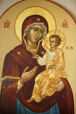 Icon of the Virgin and Child in Mary Magdalene Russian Orthodox church on Mount of Olives by Godong