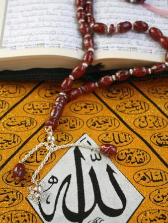Koran, Rosary and Allah Calligraphy, Paris, France, Europe by Godong
