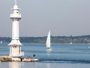 Leman Lake Lighthouse, Lake Geneva, Geneva, Switzerland, Europe by Godong