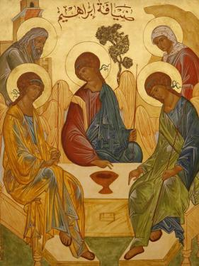 Melkite Icon of Abraham's Trinity, Nazareth, Galilee, Israel, Middle East by Godong