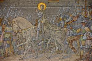 Mosaic of Joan of Arc uncovered in 1917, Fourviere Basilica, Lyon, Rhone, France by Godong