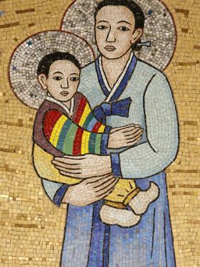 Mosaic of Korean Virgin, Annunciation Basilica, Nazareth, Galilee, Israel, Middle East by Godong