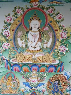 Painting of Avalokitesvara, the Buddha of Compassion, Kathmandu, Nepal, Asia by Godong