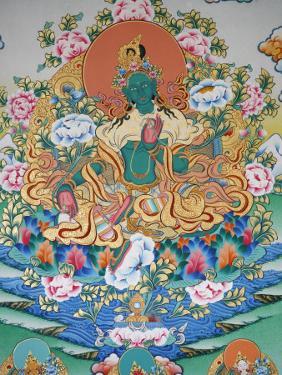 Painting of Green Tara, Buddhist Symbol of Prosperity, Kopan Monastery, Kathmandu, Nepal, Asia by Godong
