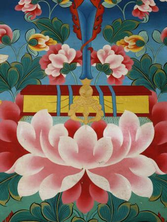 Painting of Lotus Flower, Sword of Knowledge and Sacred Text, Kopan Monastery, Kathmandu by Godong