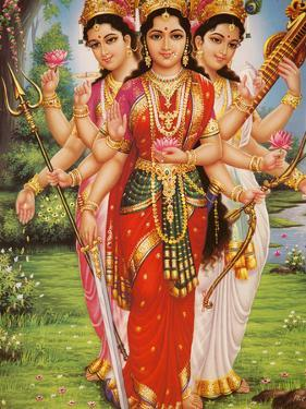 Picture of Hindu Goddesses Parvati, Lakshmi and Saraswati, India, Asia by Godong