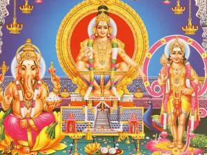 Picture of Hindu Gods Ganesh, Ayappa and Subramania, India, Asia by Godong
