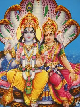 Picture of Hindu Gods Visnu and Lakshmi, India, Asia by Godong