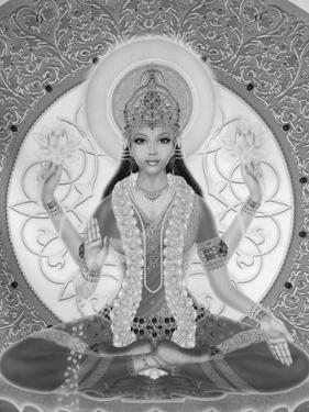 Picture of Lakshmi, Goddess of Wealth and Consort of Lord Vishnu, Sitting Holding Lotus Flowers, Ha by Godong