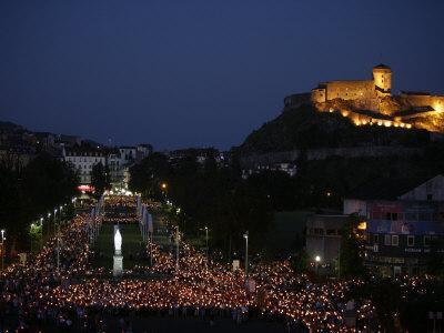 Procession at the Lourdes Shrine, Lourdes, Hautes Pyrenees, France, Europe