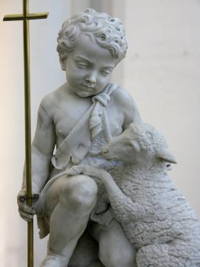 Sculpture Depicting Christ as a Good Shepherd in Santa Maria D. Grazie Church, Rome, Lazio by Godong