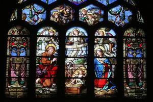 Stained Glass Window Depicting the Nativity, St. Eustache Church, Paris, France, Europe by Godong
