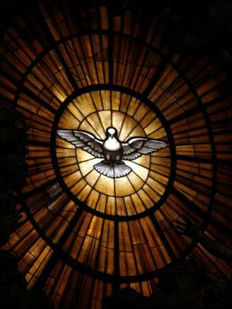 Stained Glass Window in St. Peter's Basilica of Holy Spirit Dove Symbol, Vatican, Rome, Italy