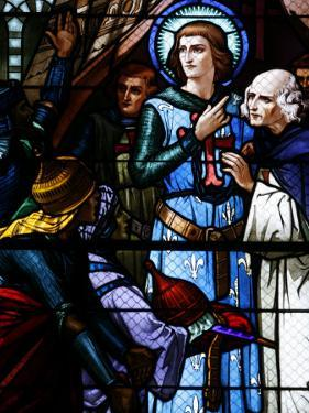 Stained Glass Window of Crusading St. Louis Meeting the Emir, St. Louis Church, Vittel, France by Godong