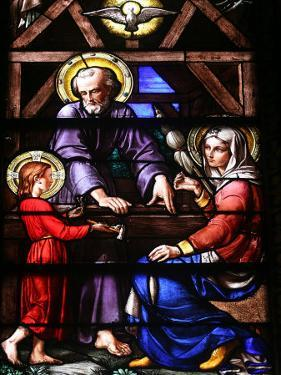 Stained Glass Window of the Holy Family, Our Lady of Geneva Basilica, Geneva. Switzerland, Europe by Godong