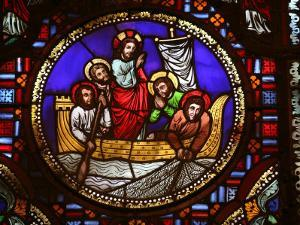 Stained Glass Window of the Miracle of Fishing, Lyon, Rhone, France, Europe by Godong
