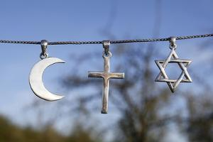 Symbols of Islam, Christianity and Judaism, Eure, France by Godong