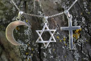Symbols of Islam, Judaism and Christianity, Eure, France by Godong